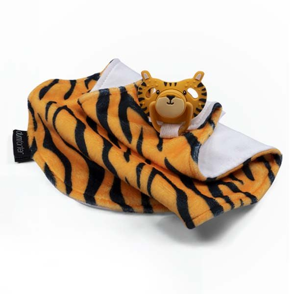 Dumforter 3 in 1 soother, teether, comforter in the wild collection terry tiger